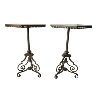 Spanish Forged Iron Wine Tables - a Pair