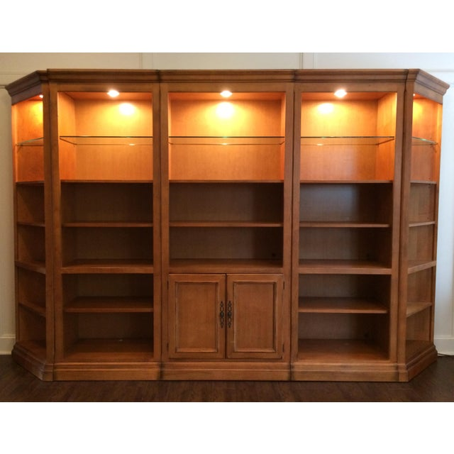 "Five-piece wall unit by Drexel Heritage (127"" W x 80"" H x 18.5"" D). Part of the American Themes collection with maple wood..."