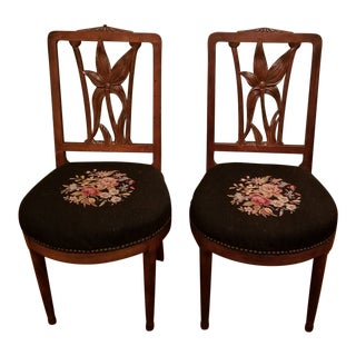 1930s Art Nouveau Carved Walnut Dining Chairs - a Pair