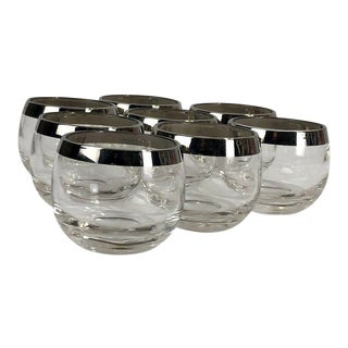 Vintage Roly Poly Silver Rim Dorothy Thorpe Style Glasses Mid Century - Set of Eight For Sale