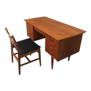 Danish Modern Teak Desk & Chair For Sale