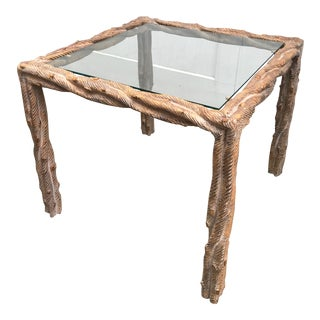 Carved Faux Bois Side Table With Glass Top For Sale
