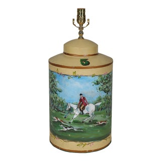 Vintage English Hand-Painted Hunting Science Table Lamp For Sale