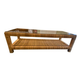 Mid Century Modern Natural Color Wicker Long Coffee Table For Sale