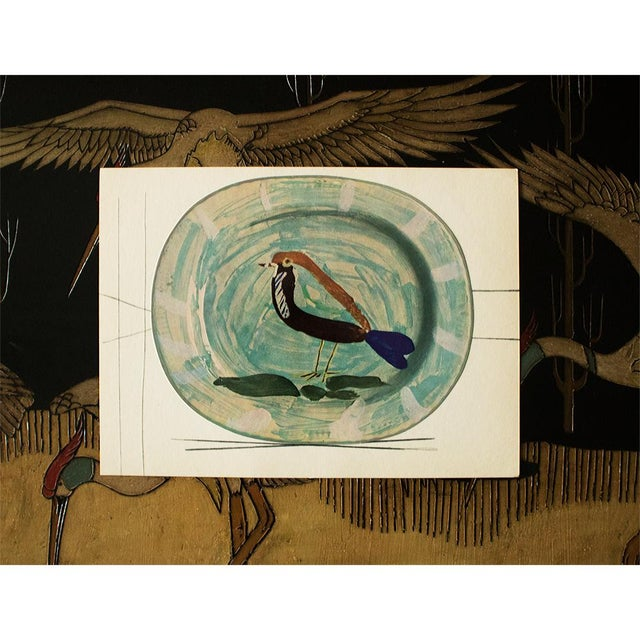 Pablo Picasso 1955 Pablo Picasso Polychrome Bird Ceramic Plate, Original Period Swiss Lithograph For Sale - Image 4 of 6
