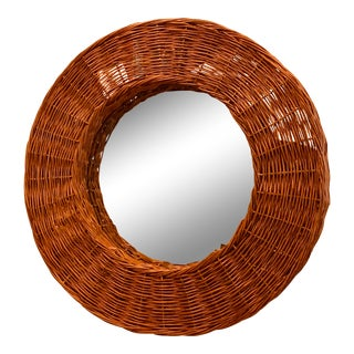1970s Boho Wicker Framed Mirror For Sale