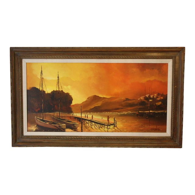 1970s Vintage Julio Carballosa Original Oil on Canvas Landscape Painting For Sale