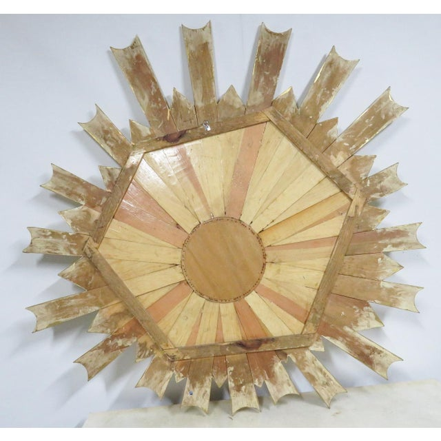Hollywood Regency Gold Gilt Sunburst Carved Mirror For Sale - Image 4 of 6