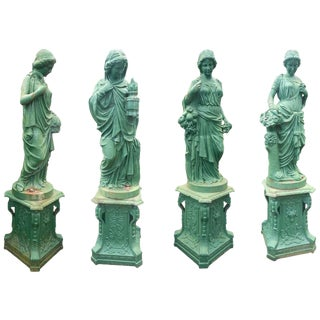Impressive Set of Four Seasons Cast Iron Statues on Pedestal Bases For Sale