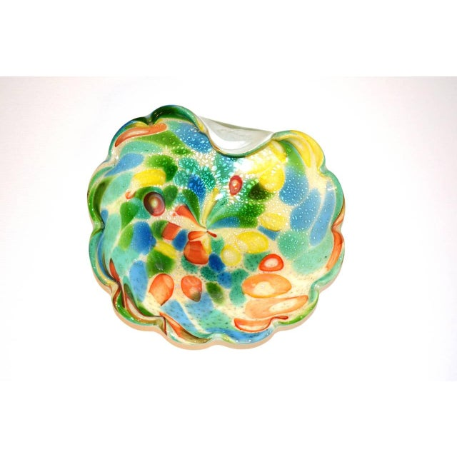 Mid-Century Modern Mid Century Murano Dino Martens Millefiori Silver Flake Folded Bowl For Sale - Image 3 of 4