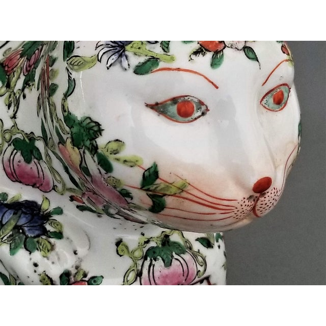 Early 20th Century Chinese Ceramic Porcelain Cat Table Sculpture Pillow Sculpture For Sale - Image 5 of 12