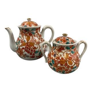 Vintage Japanese Kutani Ware Porcelain Tea Set - 2 Piece Set For Sale