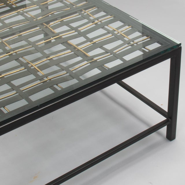 1940s Custom Coffee Table Made from French Decorative Metal Grill For Sale - Image 5 of 9