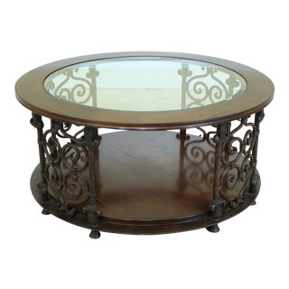 Sherrill Large Round Rustic Glass Top Coffee Table For Sale