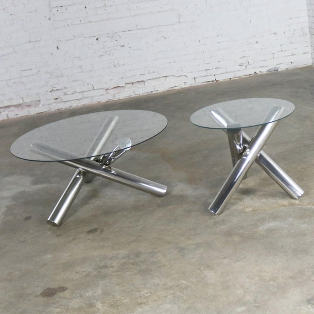 Tubular Stainless-Steel Jacks Tripod End Table Round Glass Top Style of Milo Baughman For Sale - Image 12 of 13