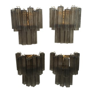 "24K Gold Frame and Light Gray Murano Glass ""Tronchi"" Wall Sconces - Set of 4 For Sale"