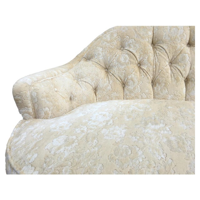 Art Deco Dorothy Draper Inspired Hollywood Regency Curved Tufted Sofa For Sale - Image 3 of 6