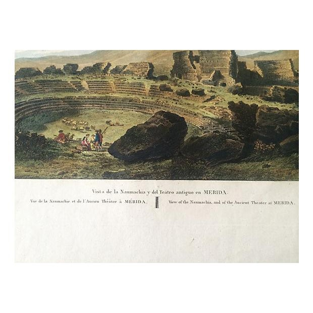 Ancient Spanish Theater Ruins, Antique Color Engraving - Image 6 of 6