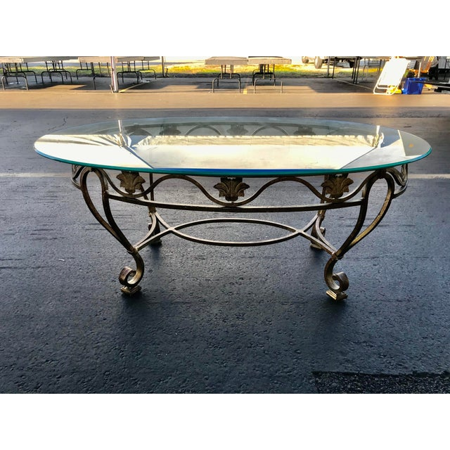 Gold Vintage Oval Metal Glass Top Table For Sale - Image 8 of 9