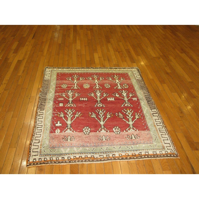 Traditional Vintage Tribal Rug - 3'8'' x 4'6' For Sale - Image 3 of 7