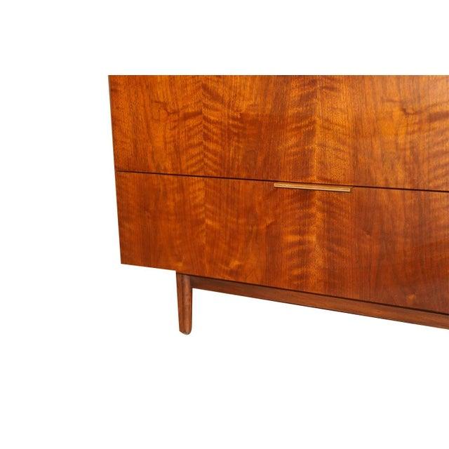 Wood John Stuart Mid Century Highboy Walnut Dresser For Sale - Image 7 of 13