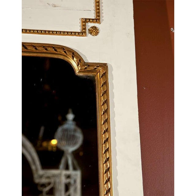 White White Painted & Parcel-Gilt French Trumeau Mirror For Sale - Image 8 of 10
