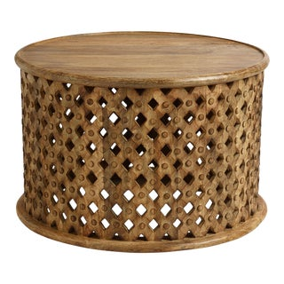 Round Carved Wood Coffee Table For Sale