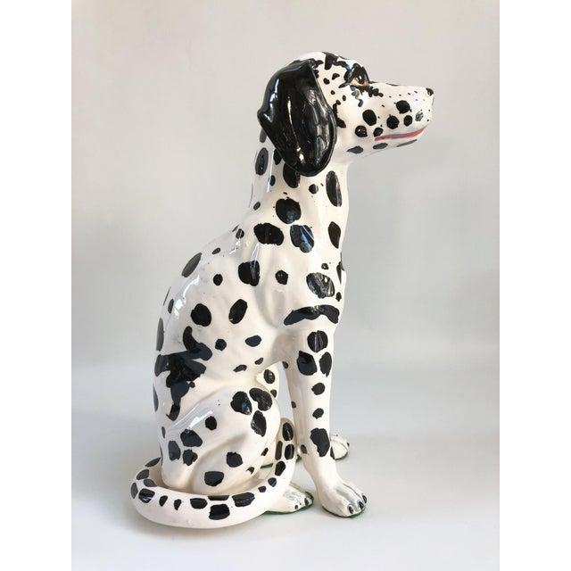 Ceramic Mid-Century Large Italian Dalmatian Dog Statue For Sale - Image 7 of 8