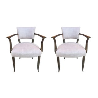 Set of Two Lavender Linen Armchairs For Sale
