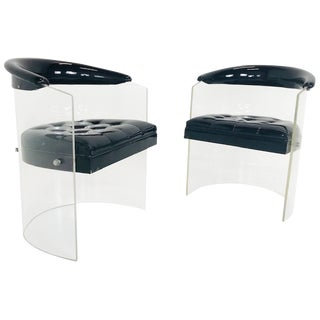 Pair of Black Patent Lucite Chairs For Sale