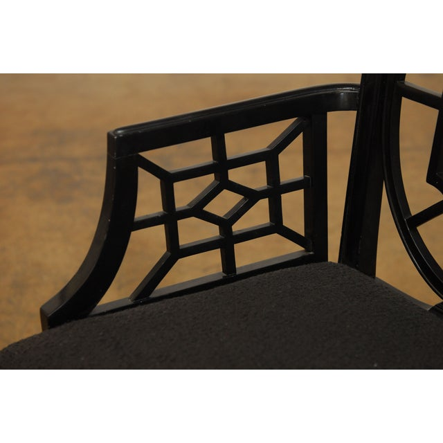 Black Lacquer Chinese Chippendale Armchair - Pair - Image 5 of 7