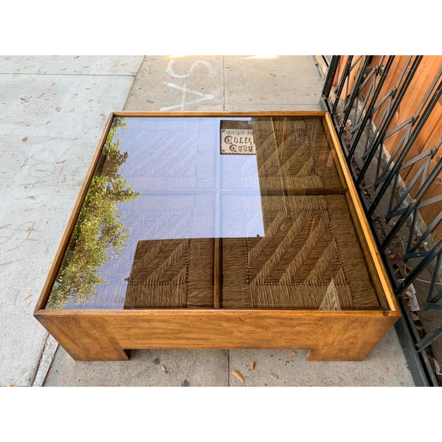 Wicker 1960s Mid Century Modern Drexel Heritage Wood Briar Coffee Table For Sale - Image 7 of 13