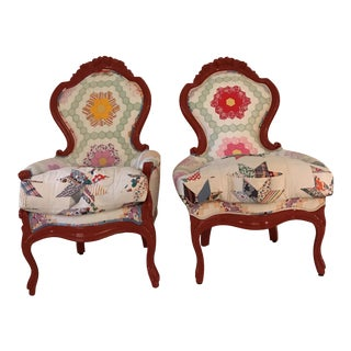 Antique Quilts Covered Arm Chairs - A Pair