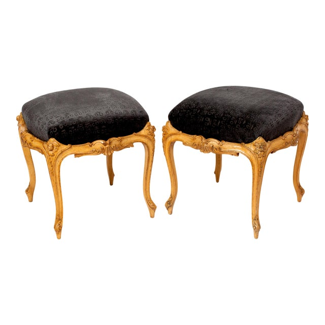 Venetian Style Wood Foot Stools Covered in Hunt Slonem Fabric- a Pair For Sale