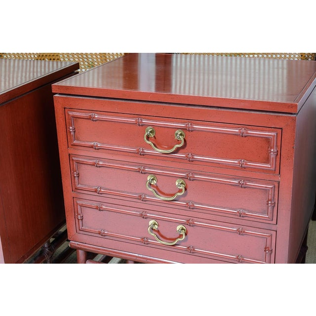 Great set of Ficks Reed Faux Bamboo 3 drawer nightstands. Solid hardwood construction in a beautiful Chinese Red finish....