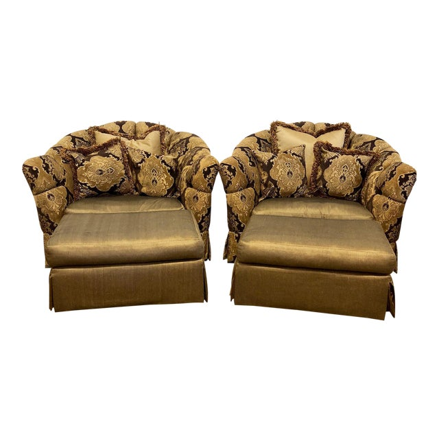 Marge Carson Veronica Chair & Ottoman Sets - A Pair For Sale
