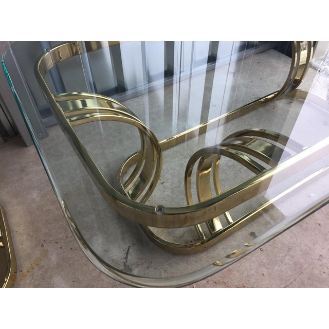 Hollywood Regency Sculptural Gold & Glass Coffee Table - Image 4 of 8