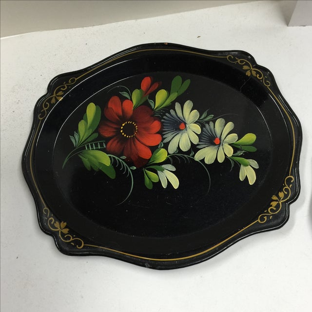 Traditional Russian Black Painted Floral Trays - A Pair For Sale - Image 3 of 7