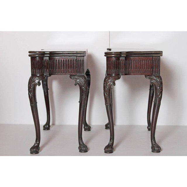 Late 18th Century Pair of Irish Chippendale Carved Mahogany Concertina Card Tables For Sale - Image 5 of 12
