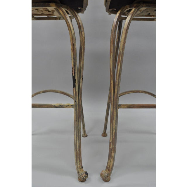 White Wrought Iron Fancy Swivel Bar Stool Woodard Andalusian Scrolling Metal - A Pair For Sale - Image 8 of 13