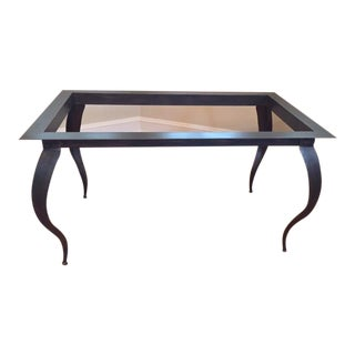 Custom Antique Bronze and Glass Dining Table