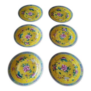 Set of Six Pretty Yellow Ground Chinese Plates For Sale