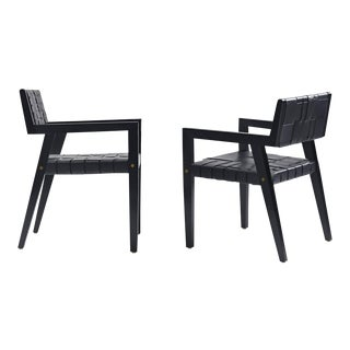 Modern Gunlocke Style Black Woven Leather Chairs - A Pair For Sale
