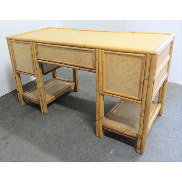 Victorian Style Bamboo & Woven Desk For Sale In Philadelphia - Image 6 of 7
