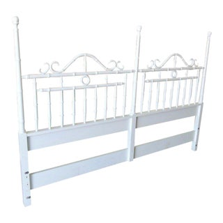 Regency Lacquered Faux Bamboo King Headboard For Sale