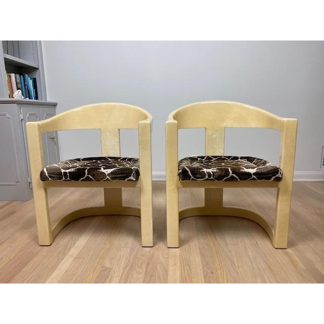 1980s Vintage Karl Springer Onassis Goatskin Chairs - Set of 4 For Sale - Image 5 of 11