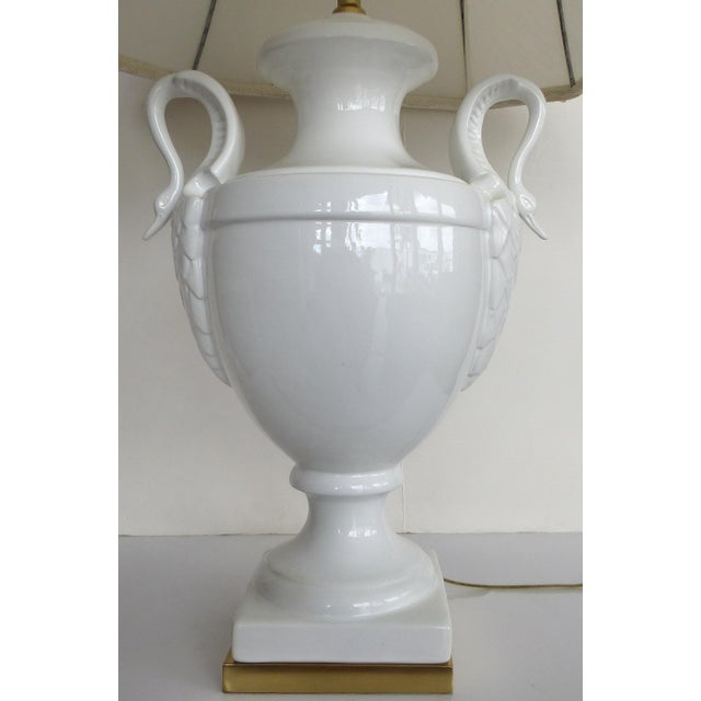 American Classical Paul Hanson Table Lamp With Swan Handles For Sale - Image 3 of 11