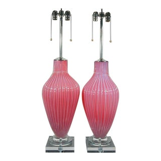 Marbro Murano Opaline Glass Table Lamps Pink For Sale