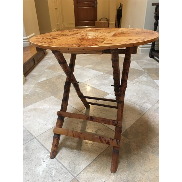 Vintage Bamboo Round Folding Table For Sale - Image 5 of 5