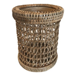 Boho Chic Pigeon and Poodle Rattan Hurricane Candle Holder